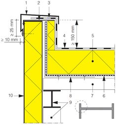 Flat Roof Insulation, Detail Architecture, Stone Cladding, Roof Detail, Tool Sheds, Detailed Drawings, Metal Buildings, Steel Structure, Technical Drawing