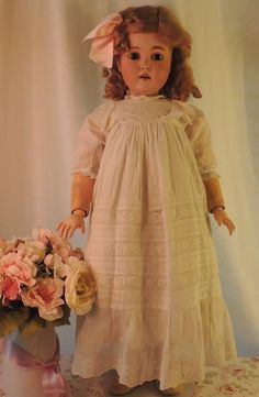 "Kestner 171 Antique German Bisque Doll 31"" Large Plaster Pate Antique Dress 