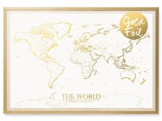 World Map Poster Travel Map Art Black White By IPrintPosters - Paper size us white map