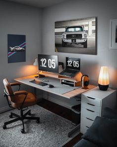 Image may contain: people sitting, screen, office, table and indoor – Modern Home Office Design Home Office Setup, Home Office Space, Home Office Design, Office Table, Office Ideas, Modern Home Office Desk, Home Studio Setup, Home Desk, Office Workspace