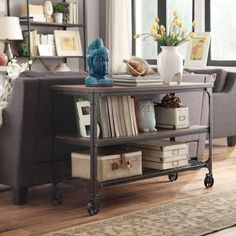 HomeSullivan Cabella Metal and Wood Console Table in Distressed Ash-405099-05 - The Home Depot