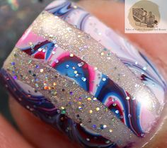 Abstract Memorial Day Watermarbele Nail Art with Zoya Purity, Sookie, Ling I Tales of Coffee, Lacquer and Beauty