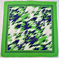"Belgium Vintage Authentic 50 Years Ygnis Geometric Green Silk 33"" Square Scarf 