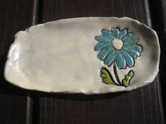 Blue Daisy Soap Dish or Spoon Rest by ShoeHouseStudio on Etsy, $12.00