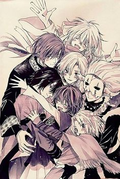 Akatsuki no Yona/The happy hungry bunch. Waahhh this is the best thing ever! A group hug of this precious family, all smiley and joyful because they love each other so much. I love that Jae-Ha is encasing them in a hug and that Shin-Ah is so happy of being with them and Kija too!! Please Kusanagi can we have this? I imagine this as being the last volume cover of AnY, that would be so awesome.