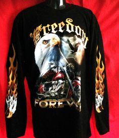 Motor Bike/ Eagle print long sleeve T-shirt black100% cotton Freedom Forevernew
