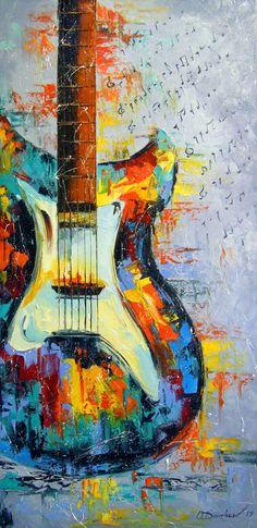 Original Music Painting by Olha Darchuk Music Painting, Guitar Painting, Music Artwork, Art Music, Guitar Wall Art, Guitar Drawing, Original Paintings For Sale, Original Art, Original Music
