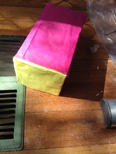 Beginning some new work wrapping boxes in coloured tissue paper Aug 2014