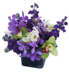 Sharron by @Cactus Flower - #purpleflowers in a modern vase, $79.99