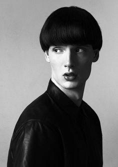 minimal bob sassoon Photographer:Szilveszter Mako Makeup:Eszter Magyar Hairstyling:Laszlo Pasztor Model:Chris at WAM Models Shirt:Prada  minimal dark hard black leather luxury