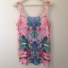 Cotton On Print Tank Top Beautiful Print • Tank Top • Sheer Front • Only Worn Once • 100% Polyester Cotton On Tops Tank Tops