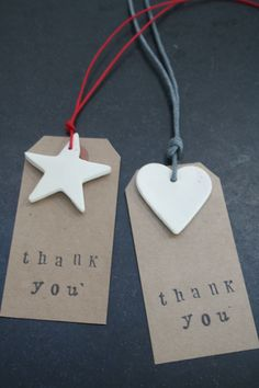 Thank You Gift Tags Wedding Name Place Wedding Favour.  These can be baked with ceramic dough...fancy making 100 something of these Nalini?