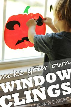 These Halloween Window Clings are a super easy way to entertain your kids for Halloween. Totally reusable and fun!