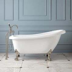 Kingston Brass VCTND5328NT8 53 Inches Cast Iron Slipper Clawfoot Bathtub  With Satin Nickel Feet Without Faucet Drillings, White | Clawfoot Bathtub  ...