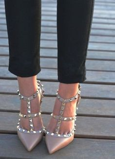 nude studded shoes