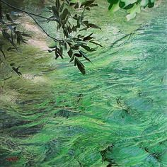 "Charles Hartley Glowing Water Study: 16"" X 16"" oil on linen: This is a study in preparation for a much larger triptych painting. SOLD"