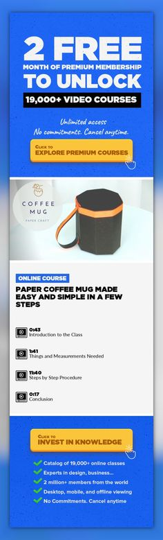 Paper Coffee Mug Made Easy and Simple in a Few Steps Art, Crafts, DIY, Illustration, Drawing, Lifestyle, Creative, Creativity #onlinecourses #studytips #studyorganization   In this Class, we will make an Octagonal Coffee Mug from chart/A4 160 GSM Paper. Take a chart sheet 27 x 15-cm and make 3-cm wide strips along the entire length. Also draw a line 6-cm from the base. The chart paper will be divi...