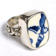 Broken China Jewelry Blue Willow Sterling Ring