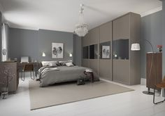 Premium Midi: Vertical Split panel Grey Mirror / Tortona Chestnut with Satin Silver frame Sliding Wardrobe Doors, Built In Wardrobe, Sliding Doors, Wardrobe Door Designs, Look Plus, Bedroom Wardrobe, Mirror Door, Contemporary Interior, Bedroom Furniture
