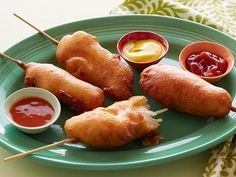 Fried Chicken Corn Dogs recipe from Food Network Kitchen via Food Network(Fried Chicken Wraps) Corn Dogs, Kimchi, Ketchup, Corn Dog Batter, Corndog Recipe, Food Network Recipes, Cooking Recipes, Making Fried Chicken, Buttermilk Chicken