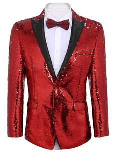 Coolred-Men Regular Fit Sequin Glitter Mid-Long Stage Clothes Blazer Coat