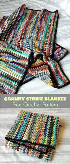 Granny Stripe Blanket Free Pattern #freecrochetpatterns #crochetblanket #babyblanket