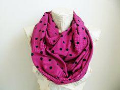 Black Polka Dots Pink Fuchsia Infinity Scarf Woman by HeraScarf