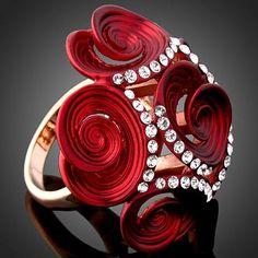 Austrian Enamel Red Flower Ring