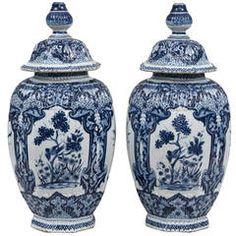 Pair of Dutch Delft Vases, circa 1850