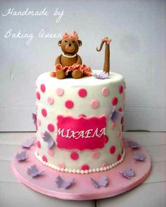 girly teddy bear cake