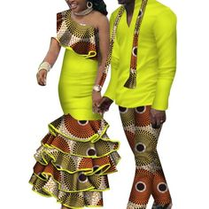 African Matching Clothing For Couple Man Woman Cotton Print Send Your – Afrinspiration African American Fashion, African Fashion Skirts, African Fashion Designers, African Print Fashion, Africa Fashion, Couples African Outfits, Couple Outfits, African Attire, African Wear