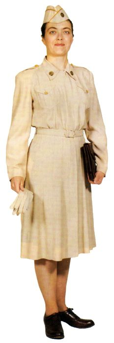 Enlisted women in the summer off-duty dress (1944-1951), a creamy pearl-white rayon shantung material. Officers also wore this dress.    http://www.history.army.mil/books/wac/appendix-d.htm