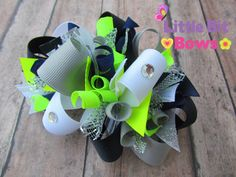 Navy White Neon Yellow and Silver Boutique Funky by littlebitbows