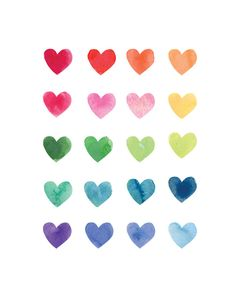 rainbow watercolor hearts
