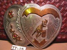 WESTERN FLAIR Hand Made Double Heart Barrel Racing Horse Belt Buckle MAKE OFFER $225.00 or Best Offer Free shippingItem image