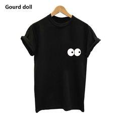 2017 New T-shirt Women eye Letter Printing Casual Women Femme Tops Tee Short Woman female Fashion Clothing PIUS SIZE S-2XL #Affiliate
