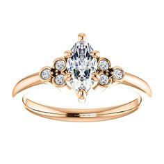 Inel de logodna din aur cu diamant marquise si diamante 71586Dimdi