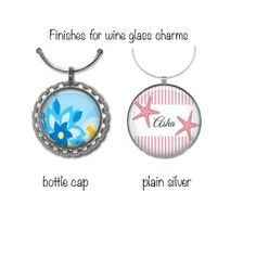 """Choose any of our 2.5cm (1.0"""") button badge or magnet set images to have made into colourful wine glass charms.Wine glass charms - (set of 6)  Simply add name of design - eg. 'Mr Fox' or 'Rita' to your order and we'll turn those images into our cute and colourful wine glass charms. These charms make wonderful party favours, housewarming gifts - light and easy to post - add to a birthday card! These charms are laser printed with the  image set on a metal disc and covered with a protective…"""