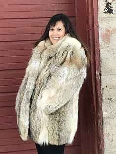 e14e0334e8b Coyote fur coat  women s large fur coat  cowgirl coat  unisex coat fur
