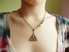 Peridot green cheap necklace, triangle abstract symbol pendant necklace, bright…