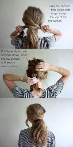 hair tutorial: messy crossover pony (truelane) I always like. Loubna Ait Hair hair tutorial: messy crossover pony (truelane) I always like the idea of wearing my hair up, but I hate feeling like w Hair Day, Hair Looks, Hair Lengths, Hair Inspiration, Curly Hair Styles, Long Hair Ponytail Styles, Twisted Ponytail, Hair Styles For Long Hair For School, Low Ponytails