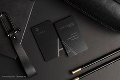 Modern simple vertical laser engraved black metal business card - Apex | RockDesign Luxury Business Card Printing