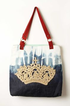 crochet crown on fabric bag