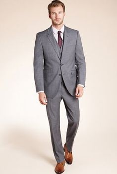 grey three piece suit, burgundy tie, but get rid of the jacket. And shoes.