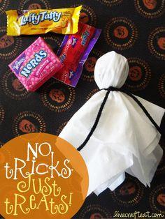 kleenex ghost lollipop for halloween treats for kids