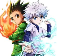 My two favorite characters from Hunter X Hunter, Gon (left), and Killua. Killua is an assassin by trade and Gon is just a really strong, really impressive little guy with a big heart Hisoka, Killua, Zoldyck, Hunter X Hunter, Hunter Anime, Manga Anime, Ging Freecss, Hxh Characters, Yoshihiro Togashi