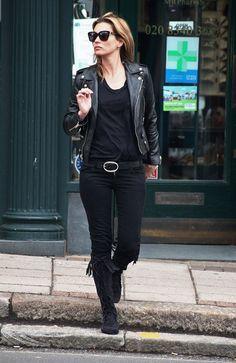 Kate Moss en perfecto de cuir noir