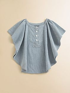 Ralph Lauren Toddler's Faded railroad stripes and a bib front lend a cool vintage element to this airy woven cotton top. Crewneck Short batwing sleeves Bib front with buttons Curved hem Cotton Machine wash Imported