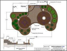 Patio With Circular Patterns and Fire Pit. Second circle could instead be a gazebo with a round hot tub.
