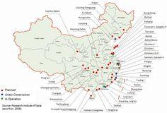 Kế hoạch xây dựng nhà máy điện hạt nhân Trung Quốc. Ghi chú: Xanh lá cây (đang hoạt động), xanh lam (đang xây dựng) và đỏ (trong kế hoạch), trong đó có nhà máy ĐHN Phòng Thành Cảng (Quangxi Fangchenggang). Ảnh: Nguồn www.world-nuclear.org.